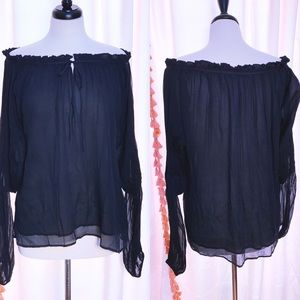 Mes Demoiselles black chiffon top